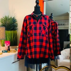 J. Crew Buffalo Plaid 1/2 Zip Pullover Navy & Red